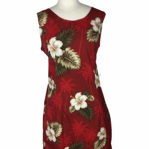 Pacific Legend Red Hibiscus Print Sheath Dress, L